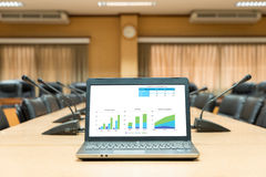 Laptop in front of business meeting room showing graph sale progress. Stock Photos