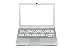 Laptop in front isolated with clipping path over w Stock Photography