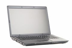 Laptop Front View 2. A front view of an open laptop on a white background. Angled just right to be cut out and placed on a table stock image