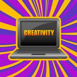 Laptop in front view with word creativity Royalty Free Stock Image