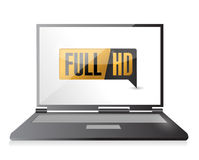 Laptop with Full HD. High definition button. Stock Images