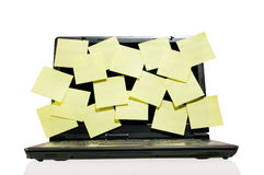 Laptop full of post it Royalty Free Stock Image