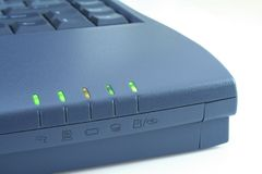 Laptop function indicators. Laptop edge with all function indicators on stock image