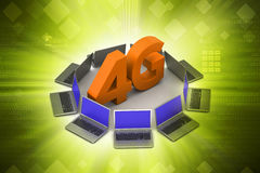 Laptop with 4G network. In color background stock illustration