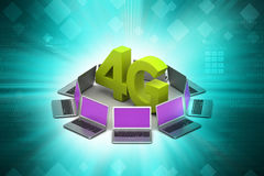Laptop with 4G network. In color background vector illustration