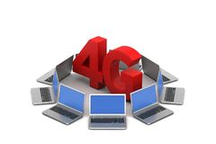 Laptop with 4G network. In white background vector illustration