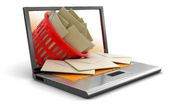 Laptop, garbage basket and letters (clipping path included) Royalty Free Stock Photos
