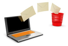 Laptop, garbage basket and letters (clipping path included) Royalty Free Stock Photo