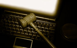 Laptop gavel Stock Photos