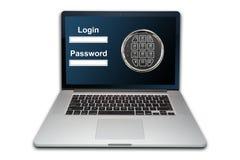 Laptop geïsoleerd de veiligheidsconcept van Internet, stock afbeeldingen