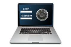 Laptop geïsoleerd de veiligheidsconcept van Internet, royalty-vrije stock foto
