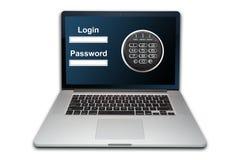 Laptop geïsoleerd de veiligheidsconcept van Internet, royalty-vrije stock afbeeldingen