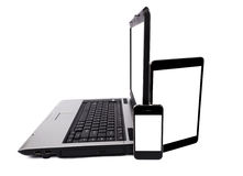 Laptop, Geïsoleerde Tabletcomputer en Mobiele Telefoon Royalty-vrije Stock Foto's