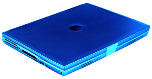 Laptop geïsoleerdt blauw, royalty-vrije stock foto