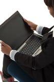 Laptop geöffnet lizenzfreie stockfotografie