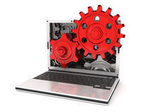 Laptop gears Royalty Free Stock Image