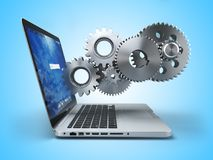 Laptop and gears. Computer technology, online support pc service. Concept. 3d illustration Stock Photography