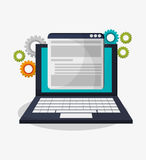Laptop gears and social media design Stock Images