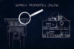 Laptop gebruiker het doorbladeren advertenties naast huis voor verkoop met mening in t Royalty-vrije Stock Foto's
