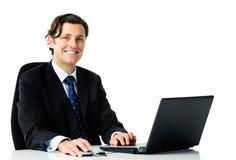 Laptop gelukkige zaken Royalty-vrije Stock Afbeeldingen