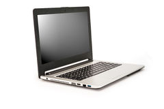 Laptop getrennt auf weißem Hintergrund Stockbilder