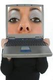 Laptop Gezicht royalty-vrije stock fotografie