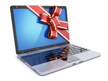 Laptop gift CGI and ribbon Royalty Free Stock Photography