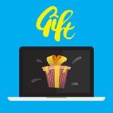 Laptop gift met het van letters voorzien stock illustratie