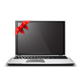 Laptop gift. Royalty Free Stock Photo