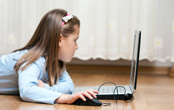 Laptop girl Stock Image