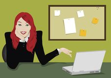 Laptop girl. Illustration of a business woman with laptop and note board