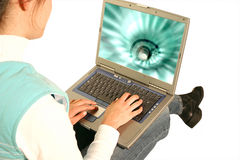 Laptop girl 2 Royalty Free Stock Photography