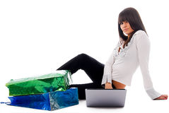 Laptop and girl Royalty Free Stock Images
