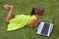 Laptop girl Royalty Free Stock Image