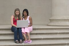Laptop Girls Stock Photo