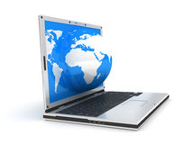 Laptop and globe Stock Images