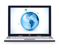 Laptop and globe Royalty Free Stock Images