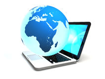 Laptop with globe Royalty Free Stock Photos