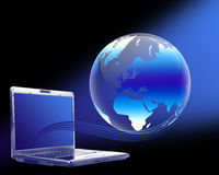 Laptop globe Stock Image
