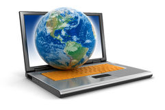 Laptop and Globe (clipping path included) Royalty Free Stock Image