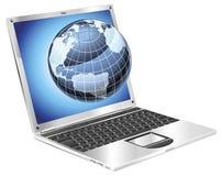 Laptop globe concept Stock Image