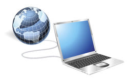 Laptop globe concept Royalty Free Stock Photo
