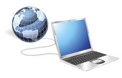 Laptop globe concept vector illustration
