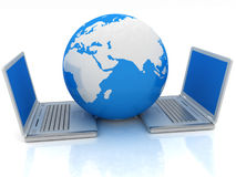Laptop and Globe concept Royalty Free Stock Photos