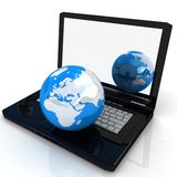 Laptop and Globe concept Stock Photo