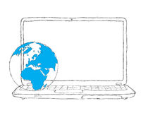 Laptop and Globe concept Royalty Free Stock Photography