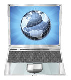 Laptop globe concept Stock Image