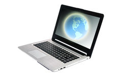Laptop. And Globe concept isolate on white background Royalty Free Stock Photos