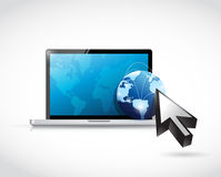 Laptop globe cursor illustration design vector illustration