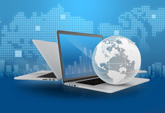 Laptop with globe and financial charts Stock Images